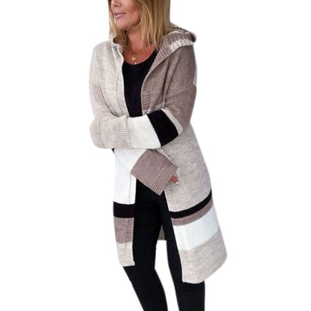 Women's Casual Long Sleeve Knitted Cardigan Loose Hooded Boho Sweater (Knitted Sweater With Hood)