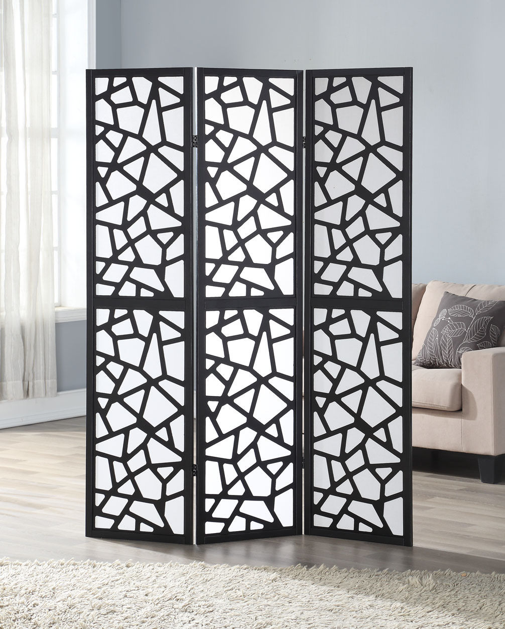 3 Panel Folding Room Divider Privacy Shoji Screen Pine Wood Frame Black