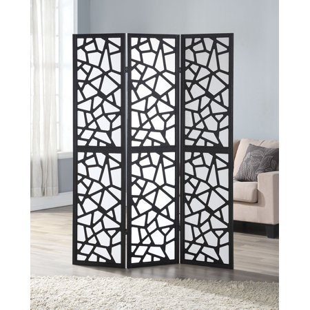Costway 3 Panel Room Divider Folding Privacy Shoji Screen Pine Wood Frame Black