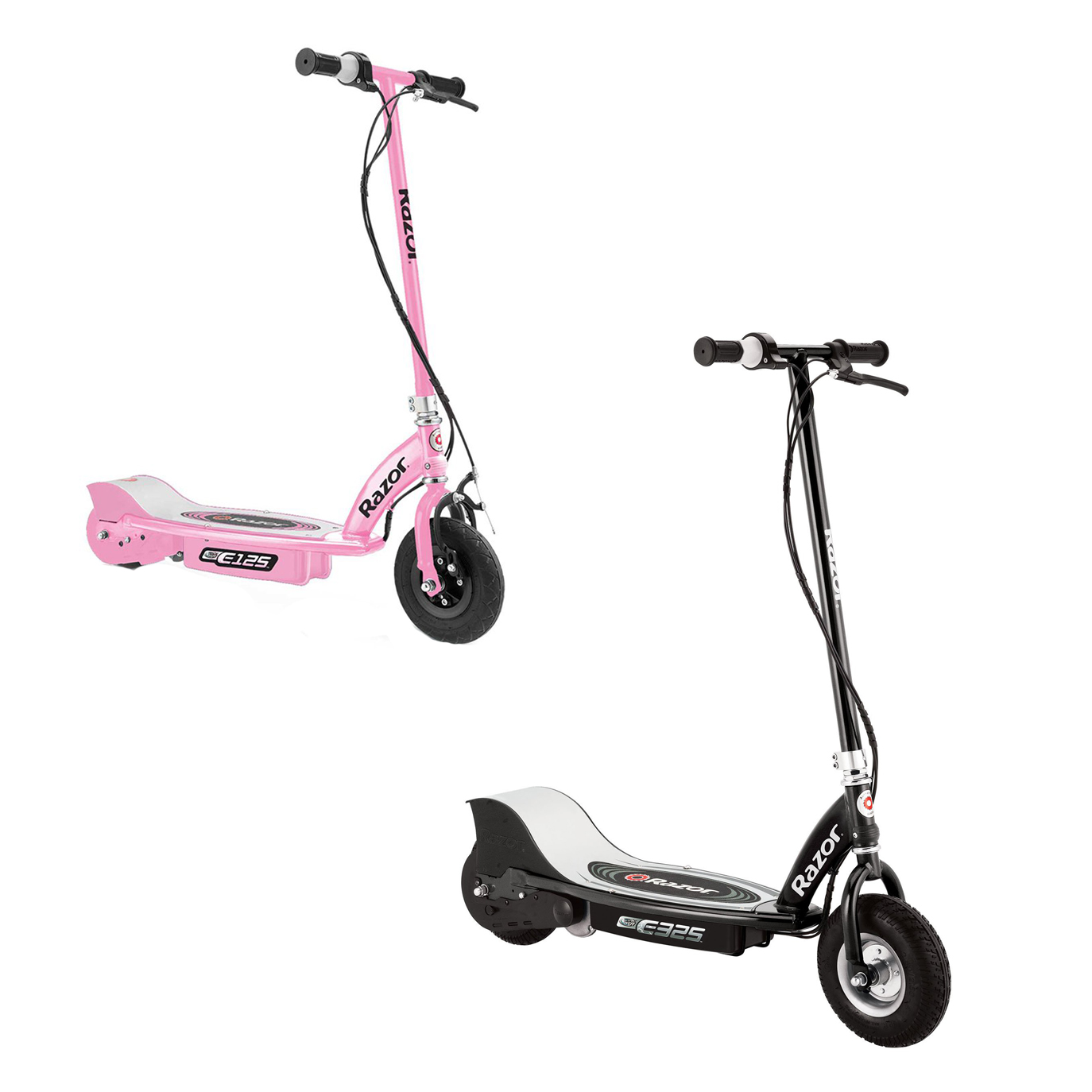 Razor Electric Rechargeable Motorized Ride On Kids Scooters, 1 Black & 1 Pink by Razor