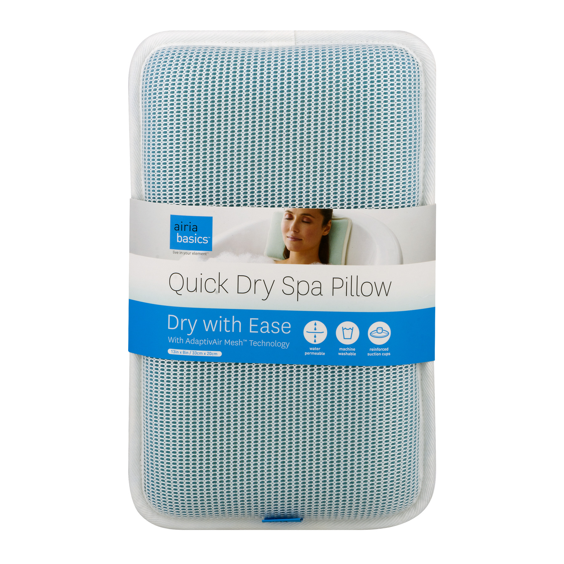 Airia Basics Quick Dry Spa Pillow, Aqua White