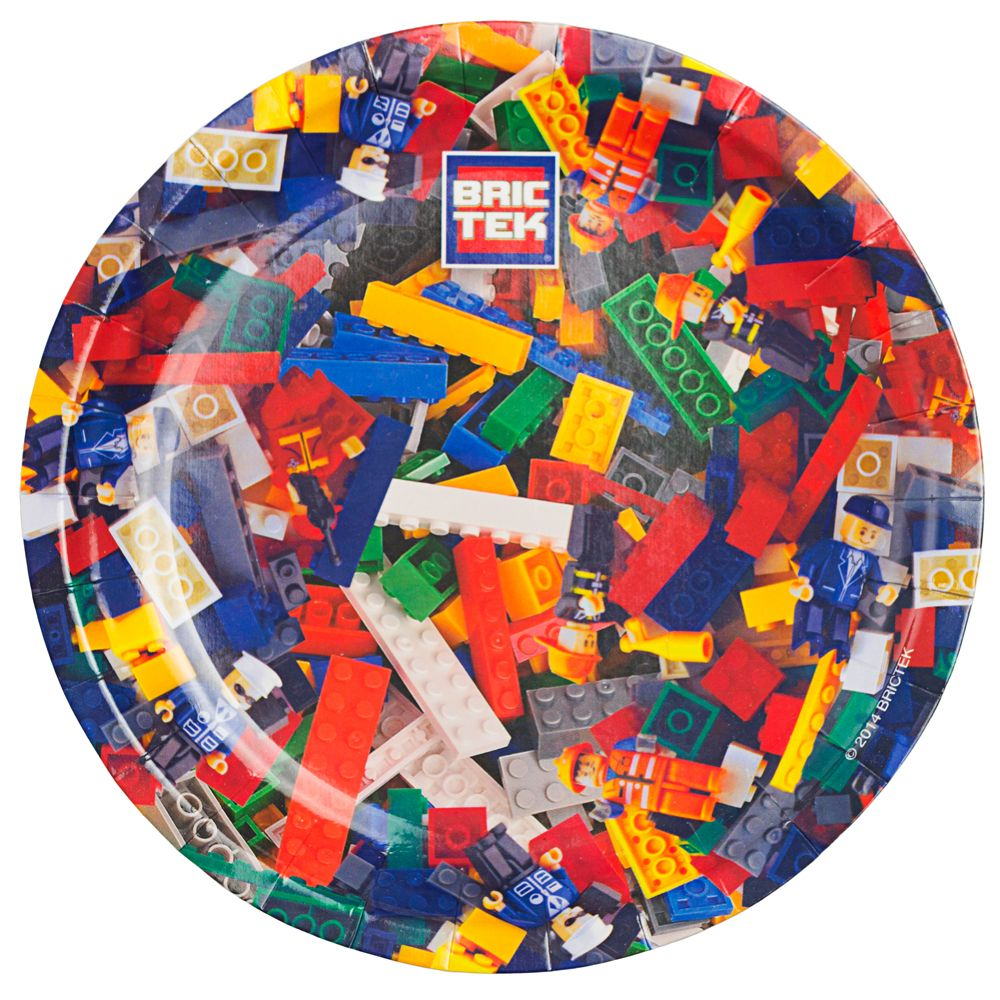 "Lego Compatible Bric Tek 7"" Cake Plates (8 Pack) - Party Supplies"