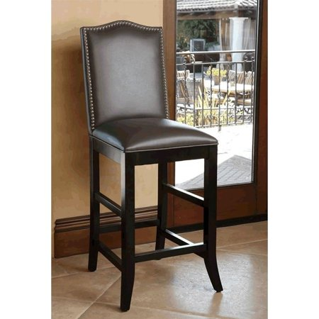 Astounding Abbyson Royal Leather Nailhead Trim Bar Stool In Gray Uwap Interior Chair Design Uwaporg