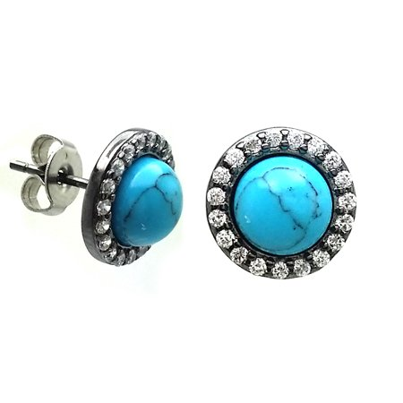 Sterling Silver Blue Cubic Zirconia Turquoise Stud Earrings