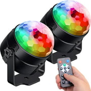 2 Pack Party Lights,Disco Lights Sound Activated with Remote,Disco Ball Light,Strobe Lights Rotating Disco Ball Light for Xmas Parties,Room,Pool,Club,Home,Church,Karaoke,Wedding