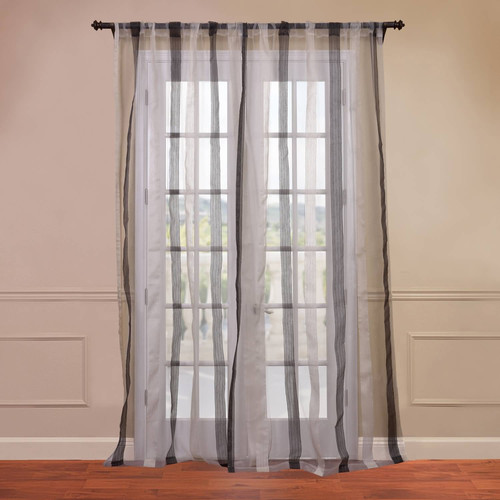Half Price Drapes Signature Havannah Striped Linen and Voile Weaved Sheer Single Curtain Panel