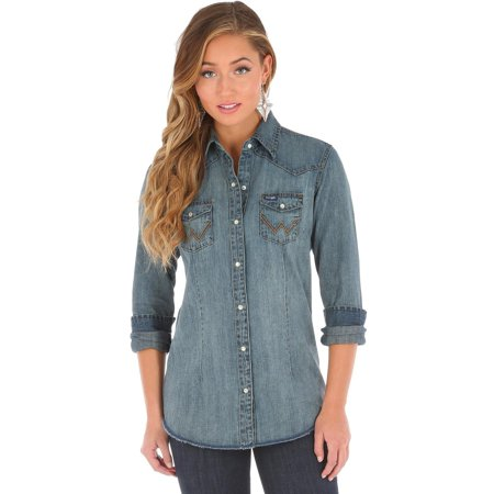 Wrangler Women's Long Sleeve Vintage Denim Shirt - (Denim Long Sleeve Sport Shirt)
