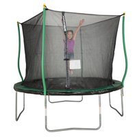 Bounce Pro 10' Trampoline, Flash Light Zone, Classic Safety Enclosure, Green/Black