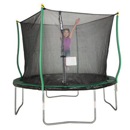 Bounce Pro 10-Foot Trampoline, with Classic Enclosure and Flash Light Zone, Green/Black