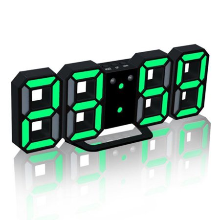 3D LED Digital Clock Glowing Night Mode Brightness Adjustable Electronic Table Clock 24/12 Hour Display Alarm Clock Wall Hanging ()