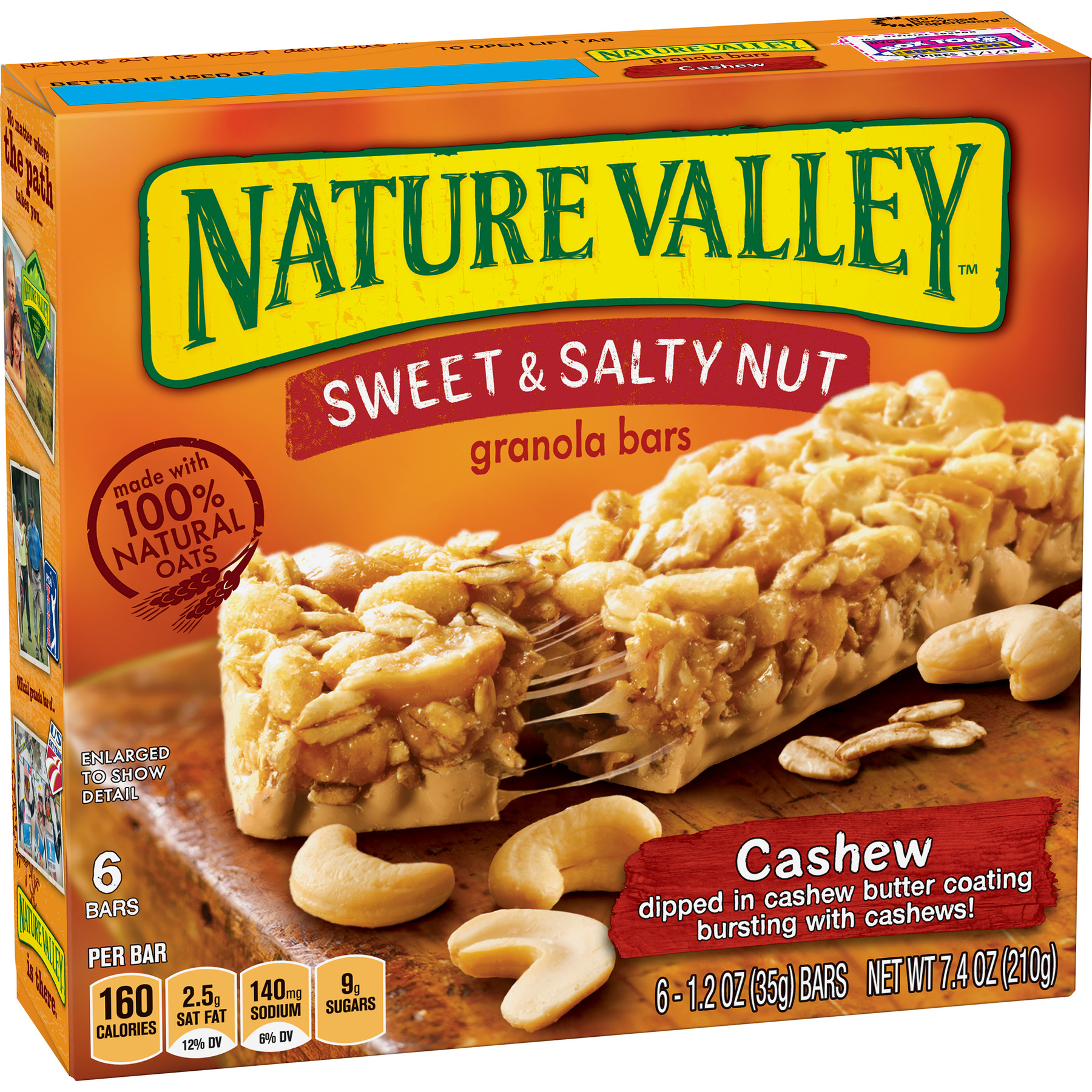 Nature Valley Granola Bars Sweet and Salty Nut Cashew 6 Bars - 1.2 oz