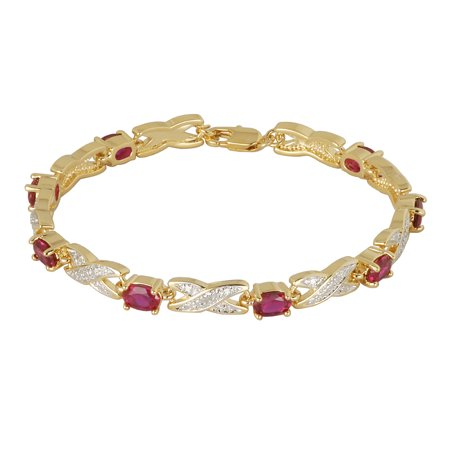 14k Yellow Gold Over Bronze Created Ruby and Diamond Accent Bracelet, 7.25