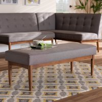 Baxton Studio Arvid Mid-Century Modern Gray Fabric Upholstered Wood Dining Bench
