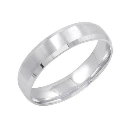 Men's 10K White Gold 5mm Comfort Fit Satin Finish Beveled Edge Wedding Band  (Available Ring Sizes 8-12 1/2)