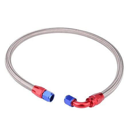HERCHR 10AN Oil Hose, Braided Oil Fuel Hose, 2Pcs 1m 10AN Stainless Steel Braided Engine Oil Fuel Line Hose Fitting End -