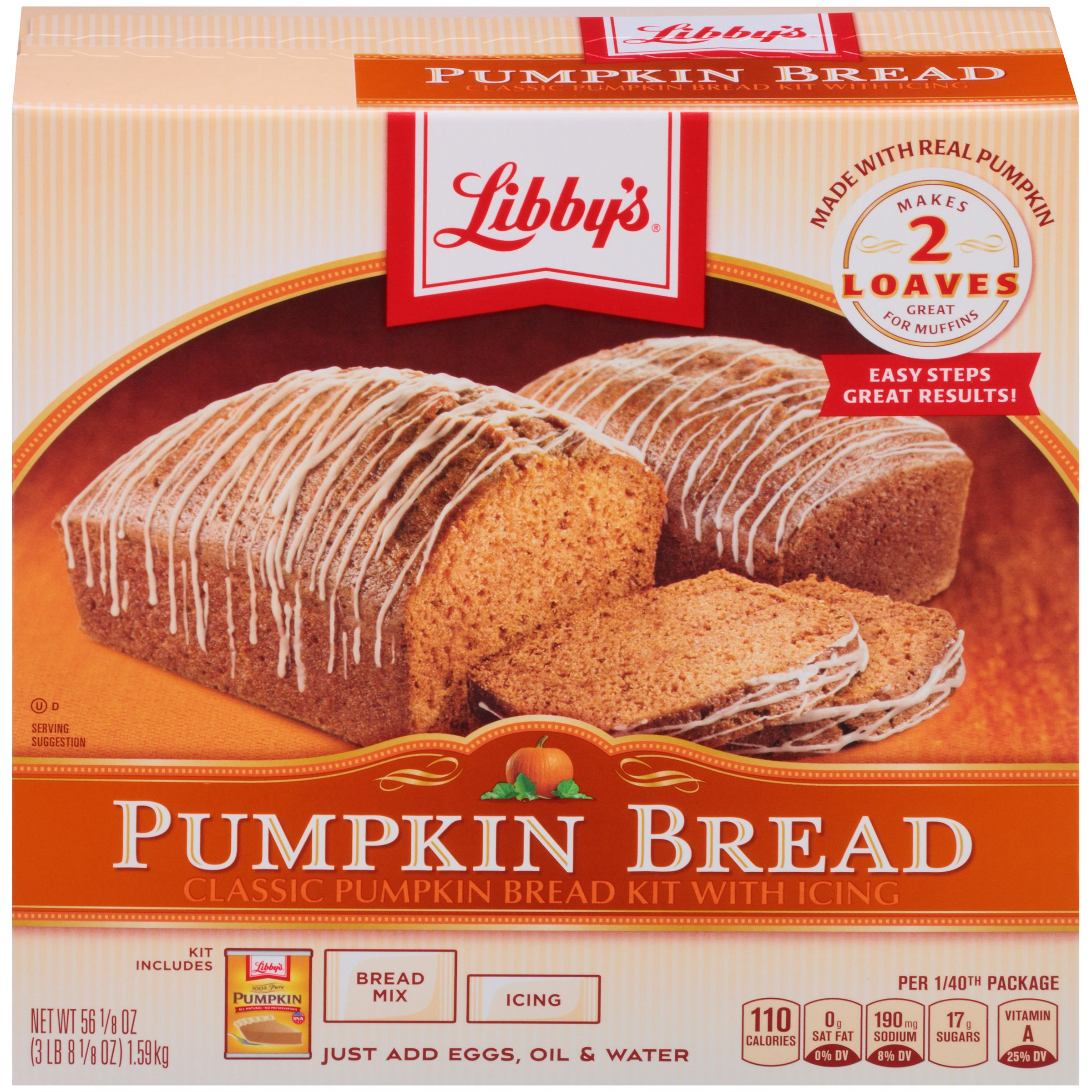 Libby's Classic Pumpkin Bread Kit with Icing, 56.1 oz Box