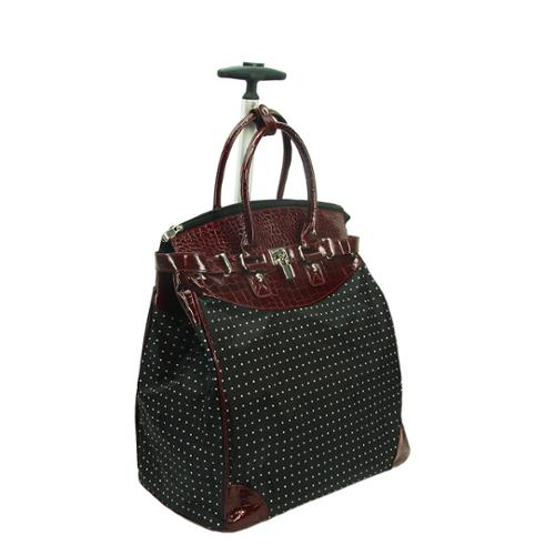 Rollies Classic Polka Dot Rolling 14-inch Laptop Travel Tote Bag Red