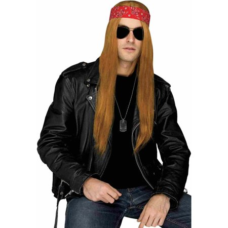 80s Grunge Rocker Wig with Bandana Adult Costume Accessory
