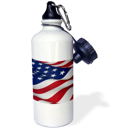3dRose USA Flag American America Banner Stars Stripes patriot patriotism patriotic united states us, Sports Water Bottle, 21oz