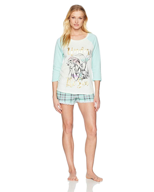 Disney Womens Princess 2 Piece Shorty Pajama Set Pajama Set