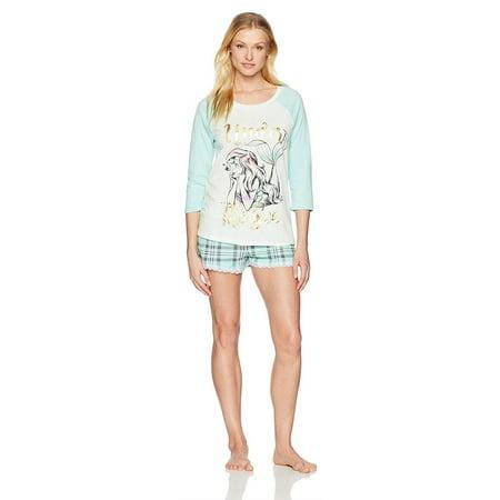 c7cdeae78 Disney Women's Ariel Little Mermaid Long Sleeve Raglan Shorty Set, Mint, ...
