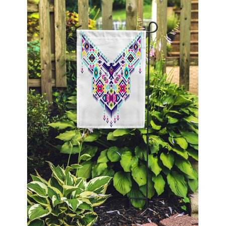 NUDECOR Colorful Boho for Collar Blouses in Tribal Ethnic Aztec Geometric Garden Flag Decorative Flag House Banner 12x18 inch - image 1 of 2