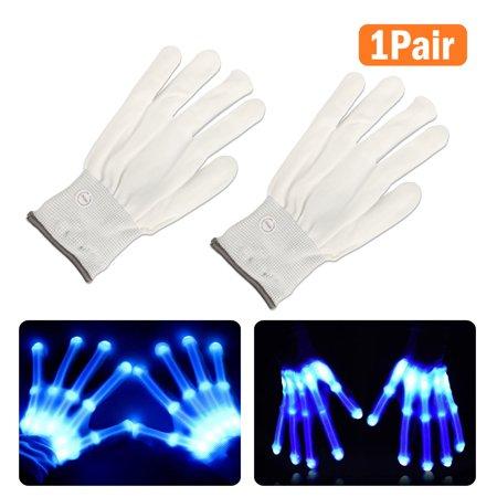 LED Flashing Gloves Glow 3 Mode Light Up Finger Tip Lighting Pair Rave Party (Rave Led Gloves)