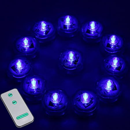 12 Super Bright Led Submersible Wedding Tower Vase Tea Light With Remote  Blue