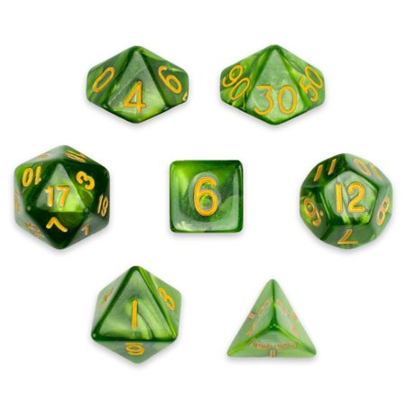 Pearl Pouch - Polyhedral Dice Set, Green Pearl Translucent 7 Polyhedral Dice, With Velvet Pouch