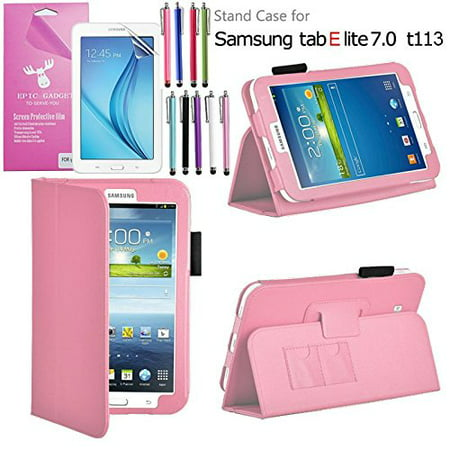 Galaxy Tab E Lite 7.0 Case, For SM-T110/T111, T113/T116, EpicGadget(TM) Auto Sleep/Wake Premium PU Leather Folding Folio Cover Case with Built in Stand + Screen Film+ 1 Pen (Light Pk) ()