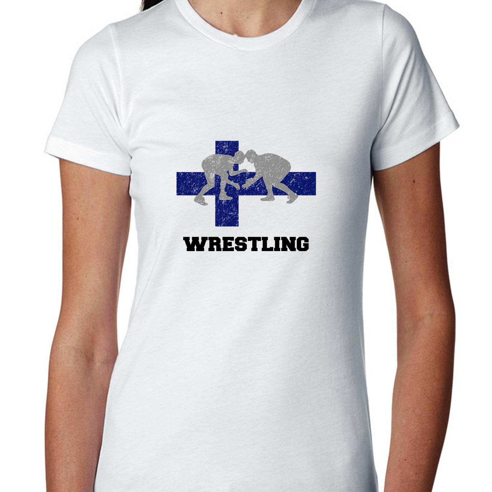 Finland Olympic Wrestling Flag Silhouette Women's Cotton T-Shirt by Hollywood Thread