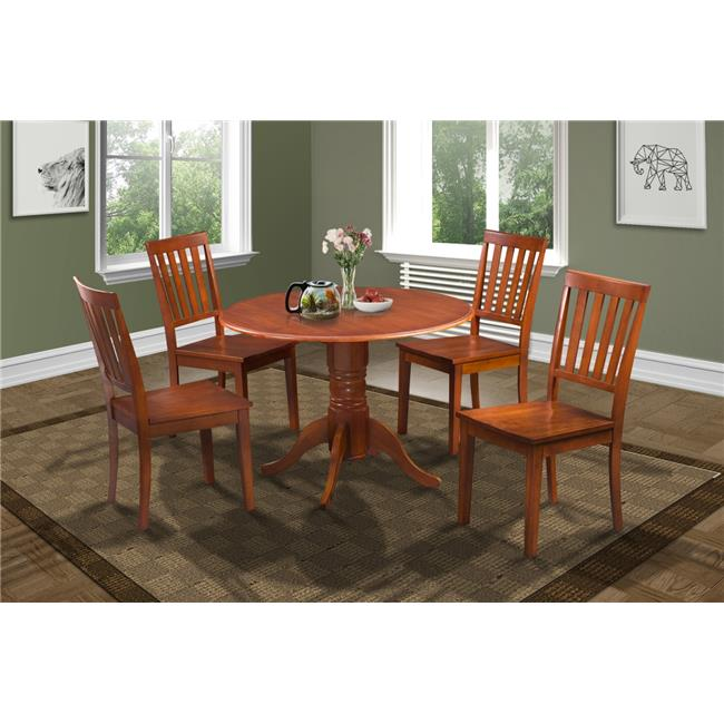M&D Furniture BUMO5-SBR-W Burlington 5 Piece small kitchen table set-kitchen table and 4 dining chairs in Saddle Brown finish