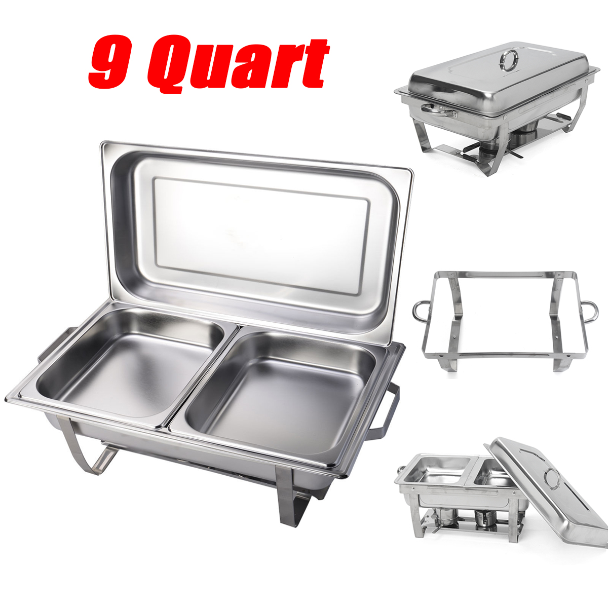 4-Piece of 9 Quart Stainless Steel Rectangular Chafing Dish Buffet  Full Size Buffet Food Warmers Easy to Clean