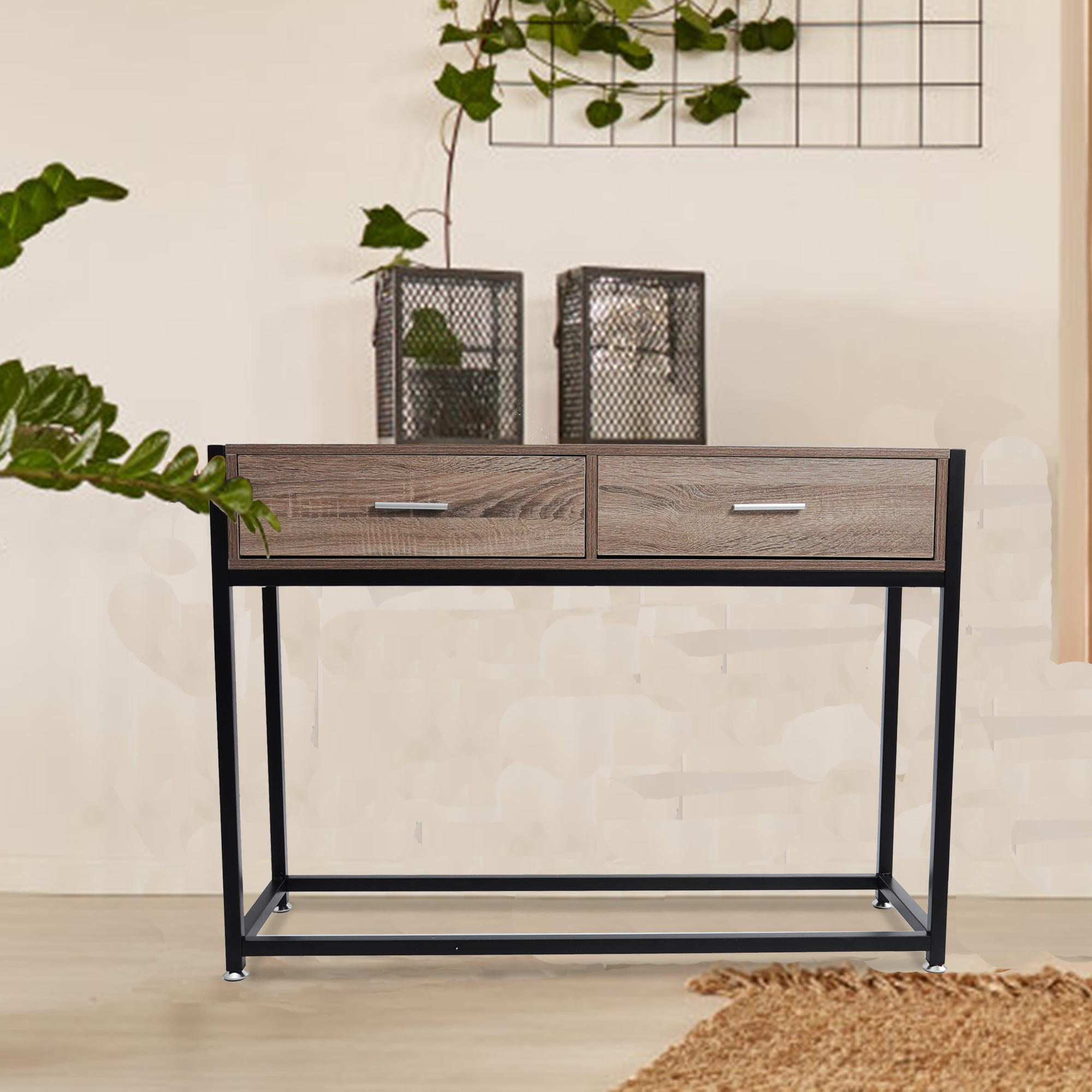 Karmasfar Product Entryway Console Table Hallway With 2 Drawers Wooden Metal Narrow Sofa Table With Two Storage Compartments Brown Walmart Com Walmart Com
