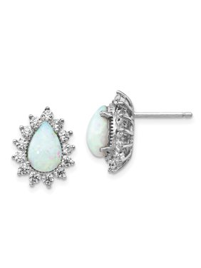 Sterling Silver CZ Synthetic Opal Post Earrings