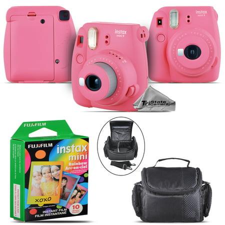 Fujifilm instax mini 9 Instant Film Camera (Pink) + Large Case - 10 Films Kit