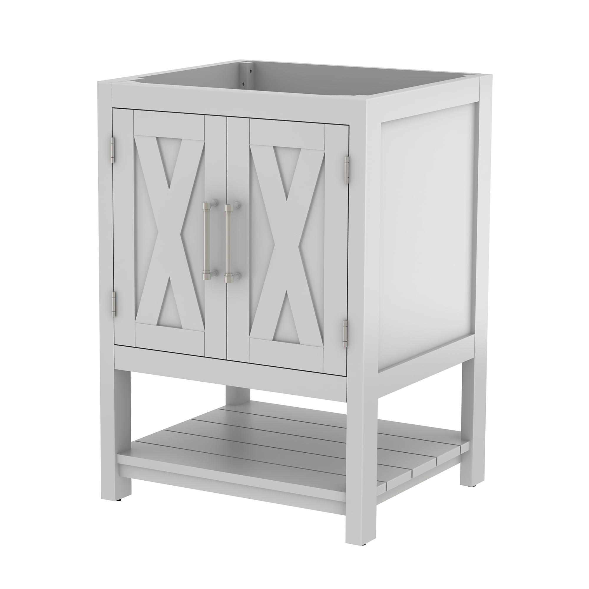 East Camden White Single Sink Bathroom Vanity Base, 24-inch