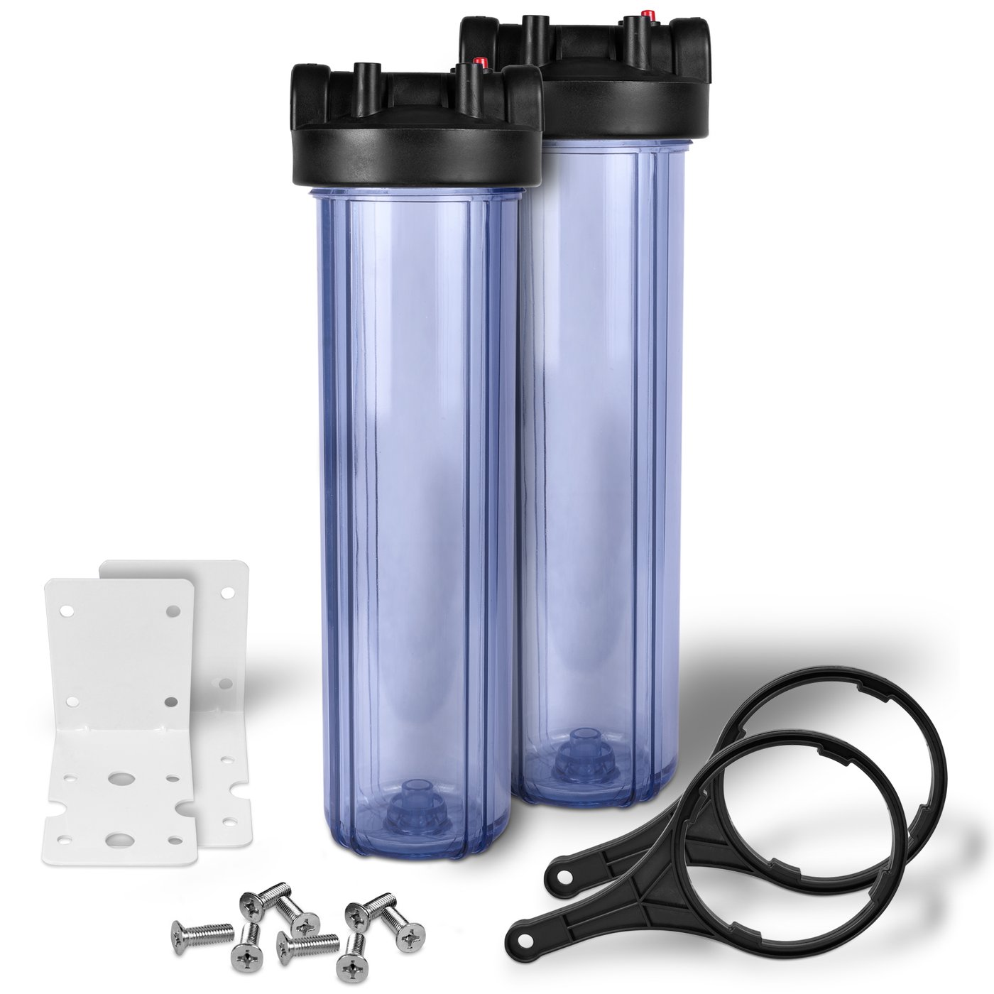 "20"" Transparent Big Blue Housing for Whole House Water Filtration System, 1"" Brass Port, Mounting (2 pack) Hardware"