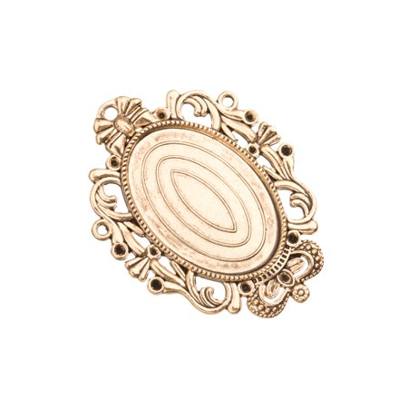 2pcs Oval Crest Frame Pendant Trays - Antique Gold Finished - Cabochon Setting Photo Pendant Cameo