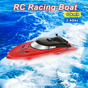 RC Boat for Kids Adult 10KM/H High Speed 2 Channels Remote Control Boats for Pools Racing Boat