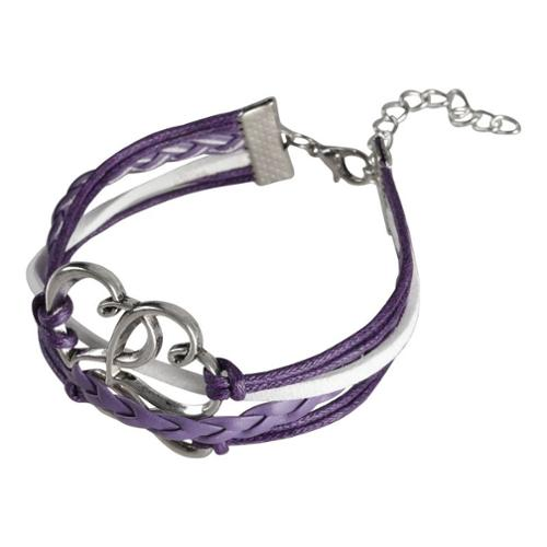 Zodaca 7 to 9 inch Adjustable Purple White Braided Velvet and Leather Cord Bracelet with Silver Hearts Design