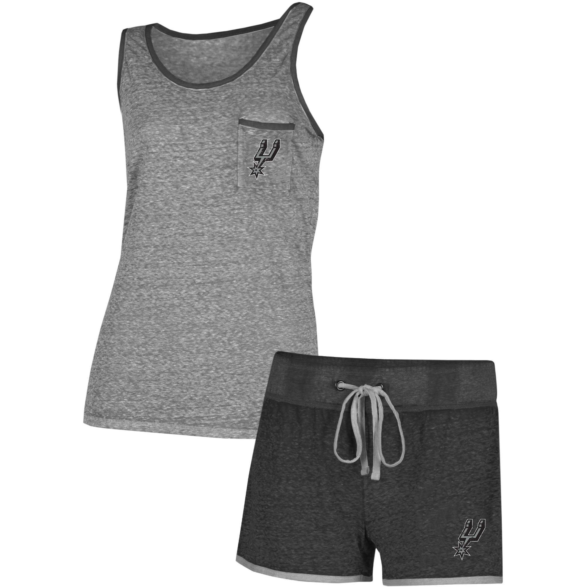 San Antonio Spurs Concepts Sport Women's Squad Tank Top and Shorts Set - Charcoal/Gray