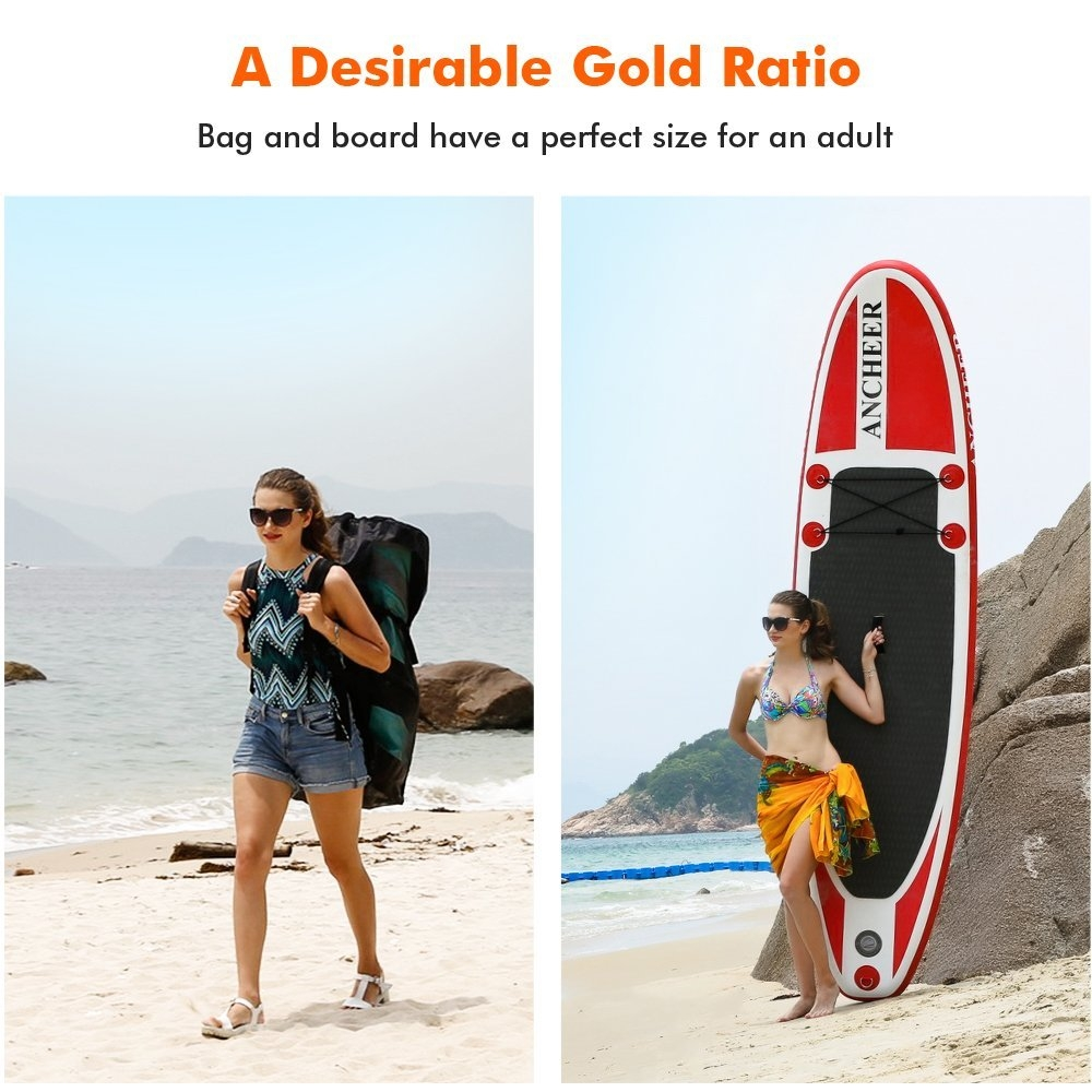 Click here to buy Angelhouse 10ft Inflatable Stand Up Paddle Board iSUP with Adjustable Paddle Backpack HDPML.