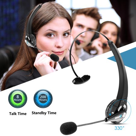 LUXMO Over-The-Head Noise Canceling Bluetooth Headphone Trucker Bluetooth Headset Wireless Earpiece with Mic, Office Headset for Desk Phone Cordless V4.1 Bluetooth Headset for Office Phone Bluetooth Desk Telephone Adapter