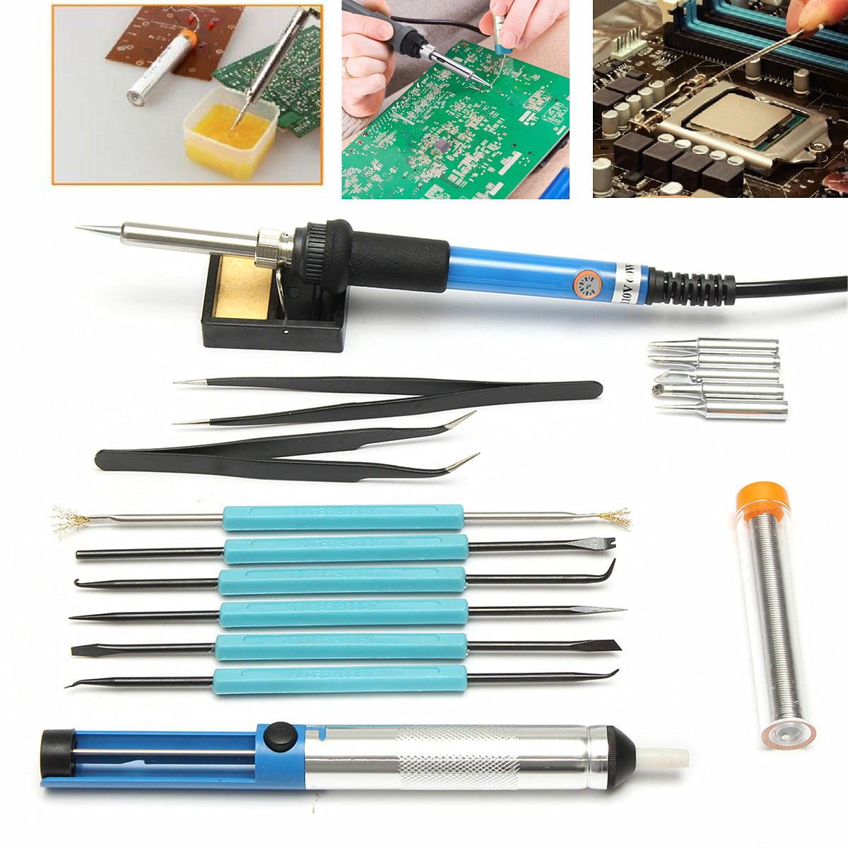 60W 110V Adjustable Electric Soldering Iron Kit  Solder Assist Knif?e +Fork +Solder+  Squeeze head+ hook+Brush+Needle