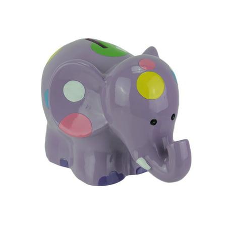 Cute Polka Dot Smiling Elephant Coin - Pink Plastic Piggy Bank