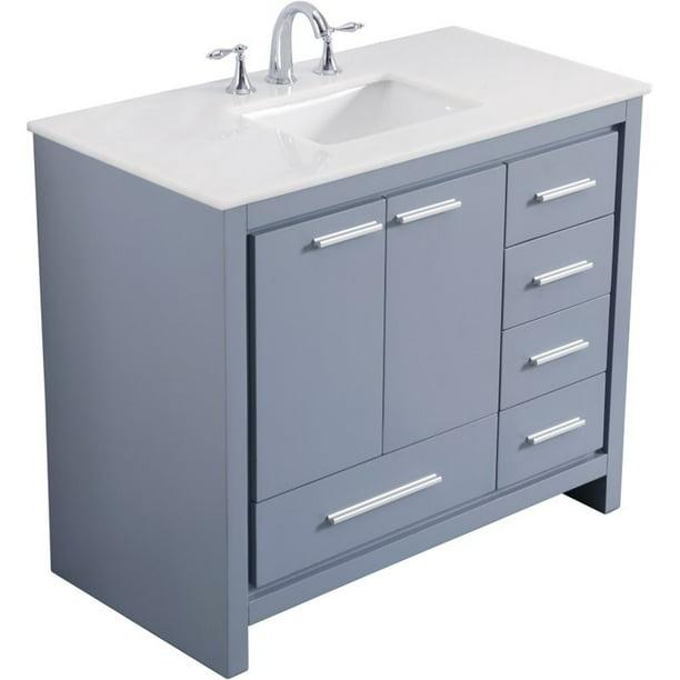 Elegant Decor Filipo 40 Single Marble Top Bathroom Vanity In Gray Walmart Com Walmart Com