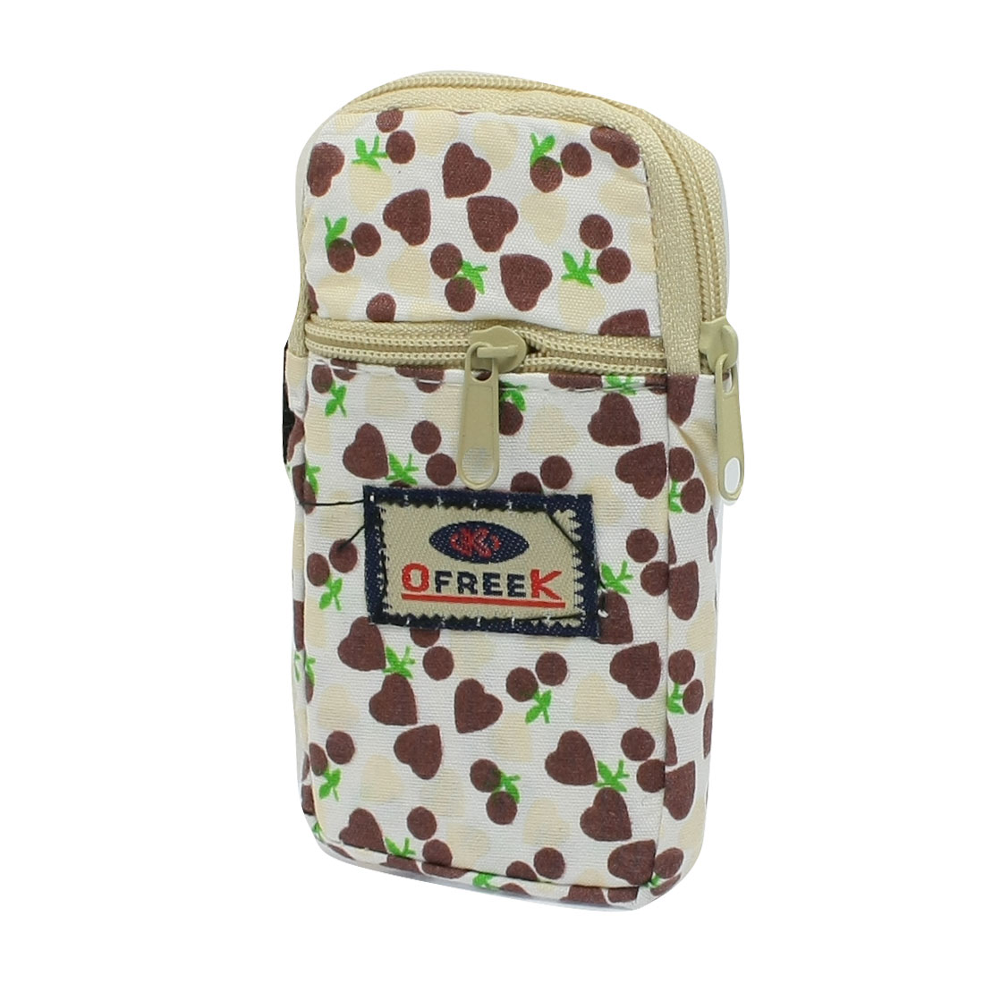 Unique Bargains Heart Pattern Zippered Cell Phone Holder Pouch Beige Brown Wristbag