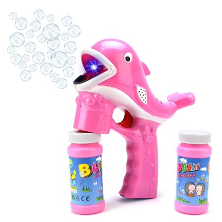 Fun Cartoon Whale Battery Operated Toy Bubble Blowing Gun w/ Light, Music, 2 Bottles of Bubble Liquid (Pink) - Pink Bubbles