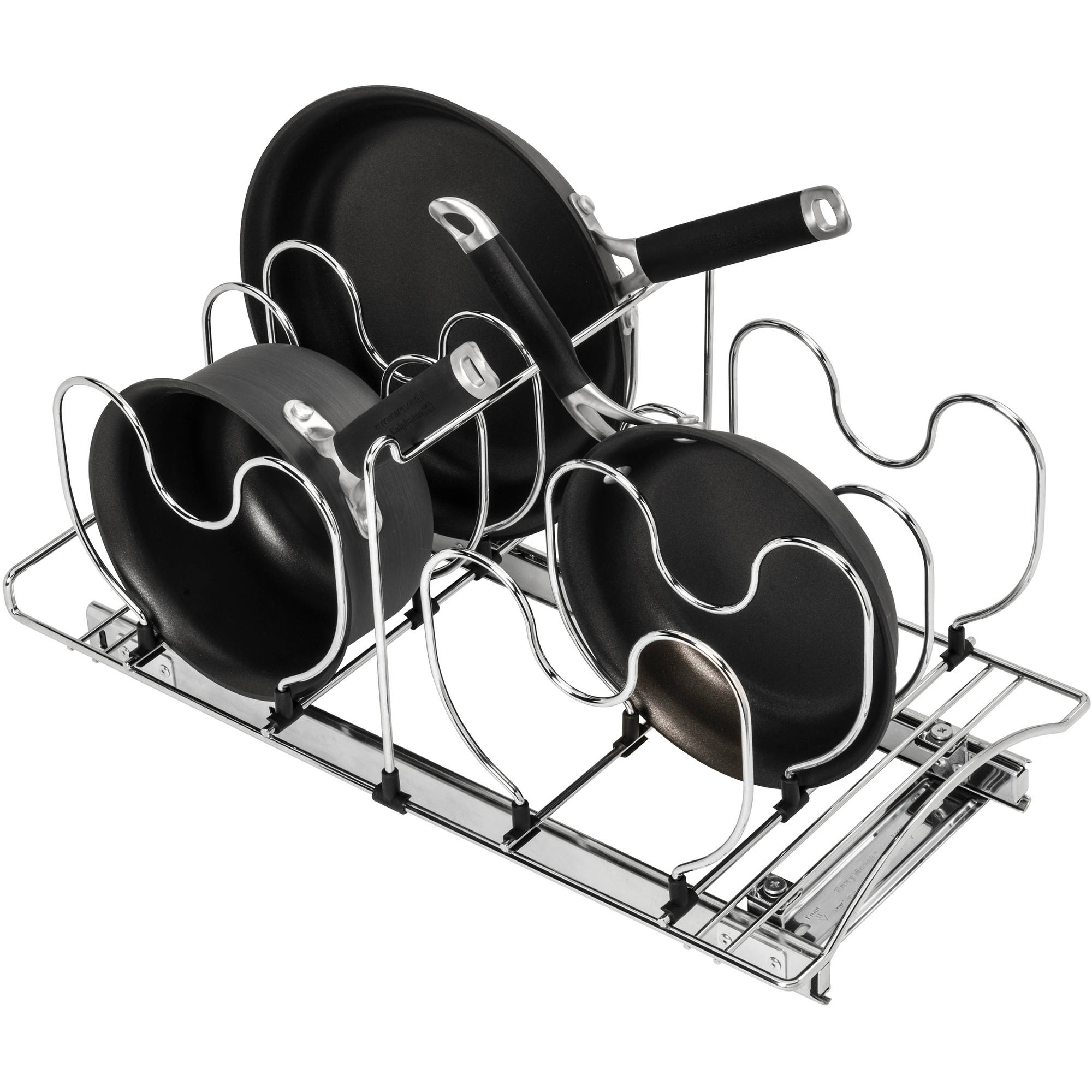 "Lynk Professional Roll Out Cookware Organizer Pull Out Under Cabinet Sliding Rack, 11""W x 21""D, Chrome"